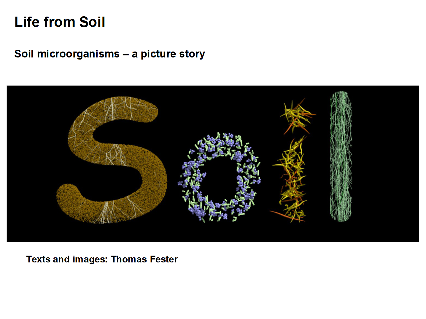 "Coverslide from the Powerpoint-presentation ""Life from Soil"""