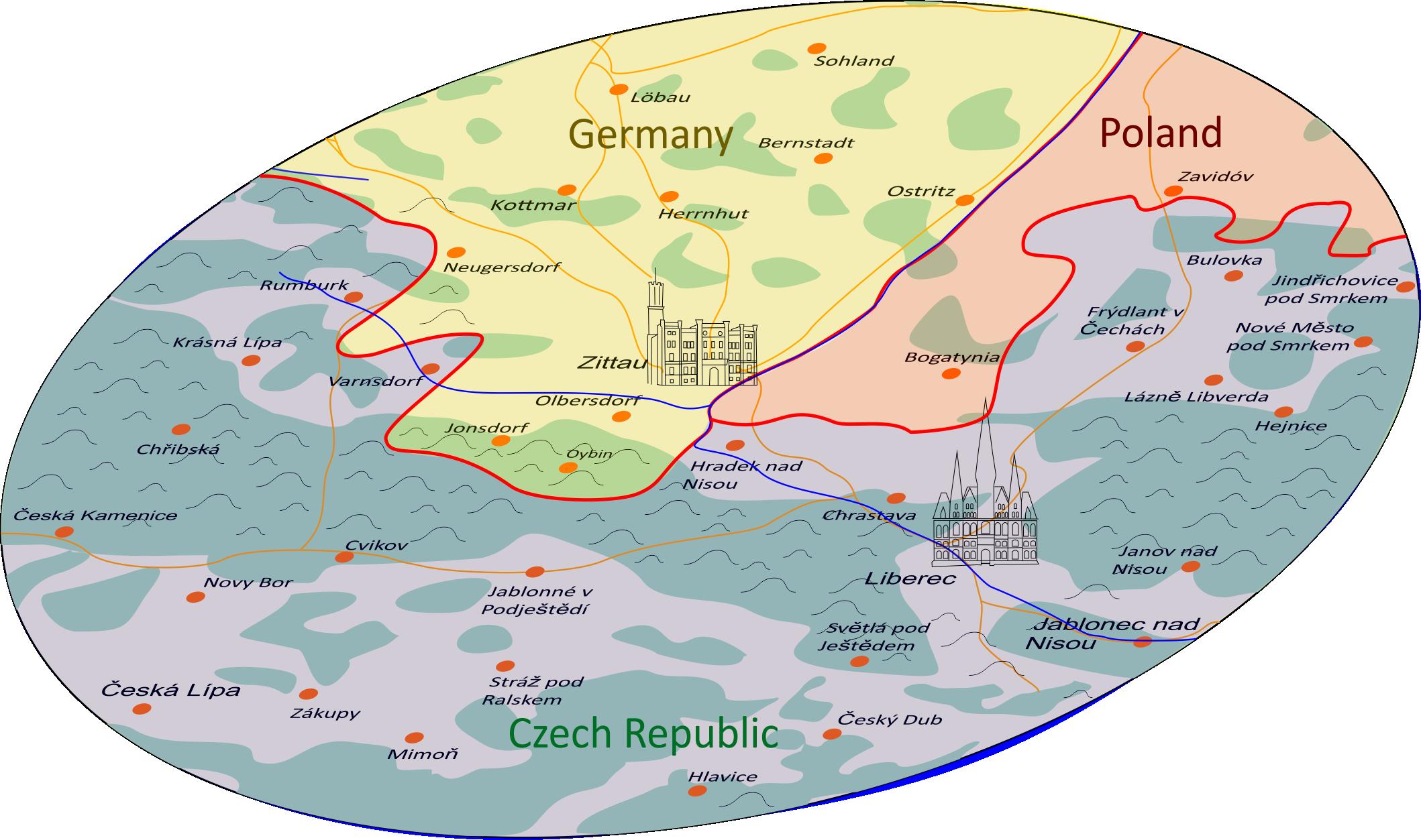 Zittau and its surroundings (radius 30 km)