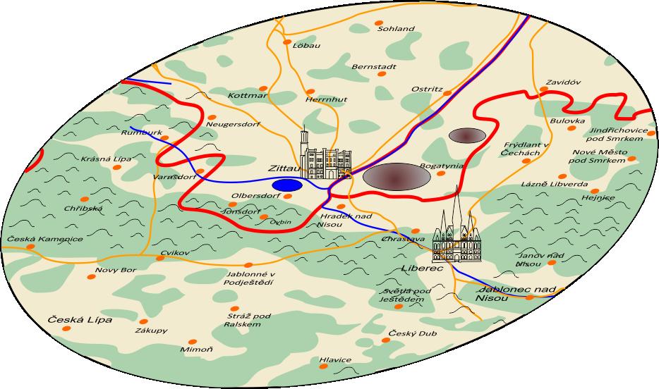 Lignite mining in the Zittau area: Active mines - brown, Olbersdorfer See - blue